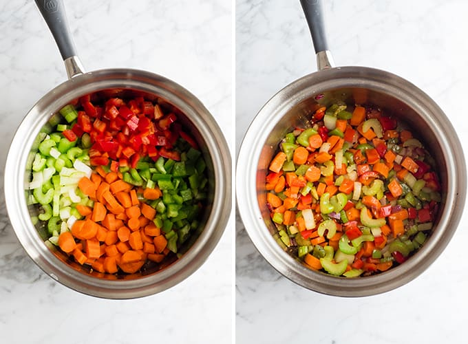 two overhead photos showing how to make vegetable soup