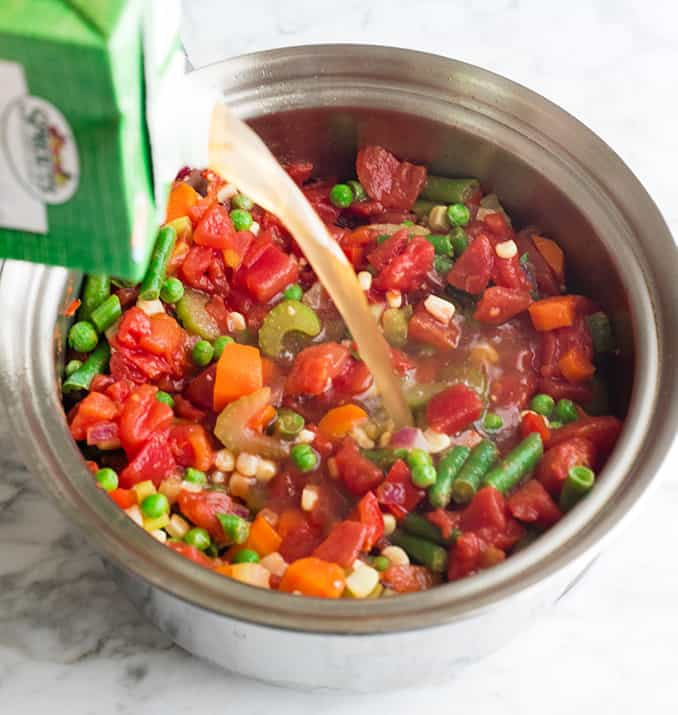 front view photo showing how to make vegetable soup