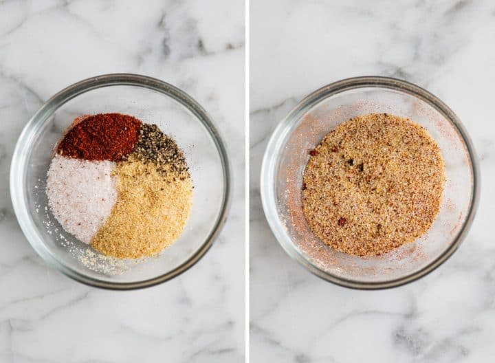 two overhead photos showing how to roast broccoli -  making the spice mixture