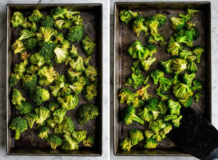 two overhead photos showing how to roast broccoli in a baking pan