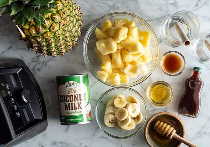 overhead view of the ingredients in this pineapple smoothie recipe