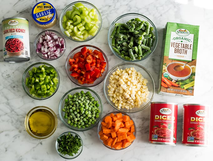 photo of the ingredients in this vegetable soup recipe