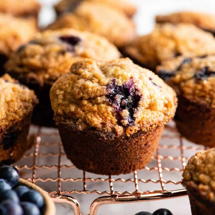 front view of blueberry muffins on a cooling rack