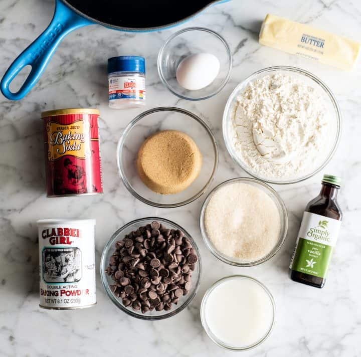 overhead view of the ingredients in this skillet cookie recipe