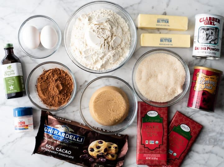 overhead photo of the ingredients in this double chocolate cookie recipe