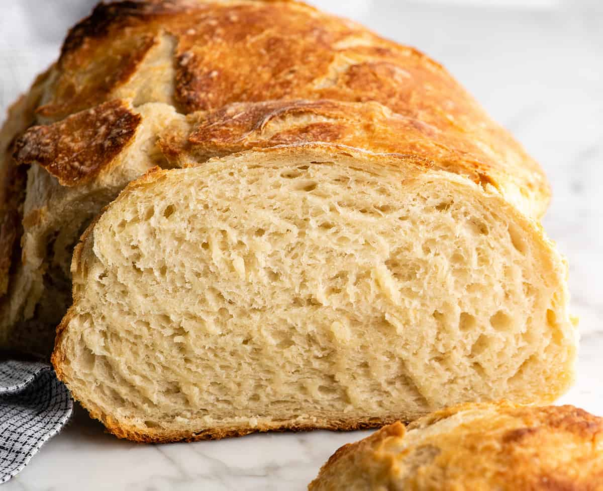 front view of a slice of no knead bread