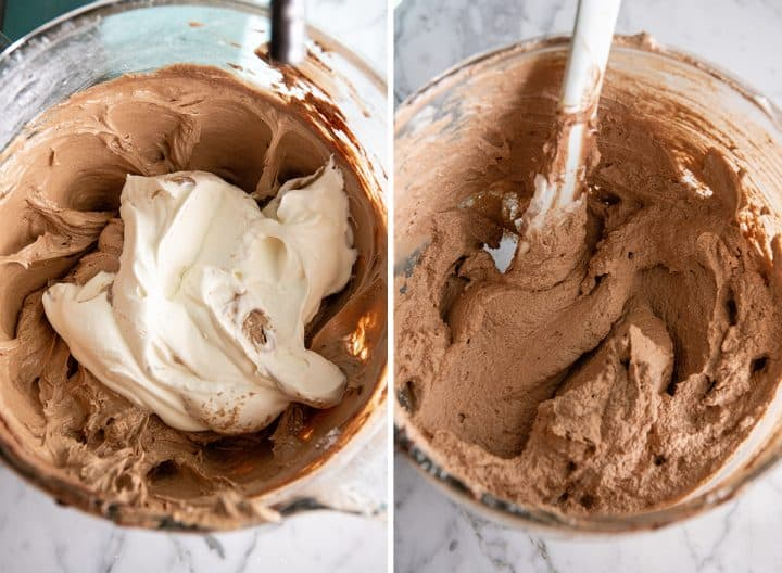 two photos showing how to make French silk pie filling