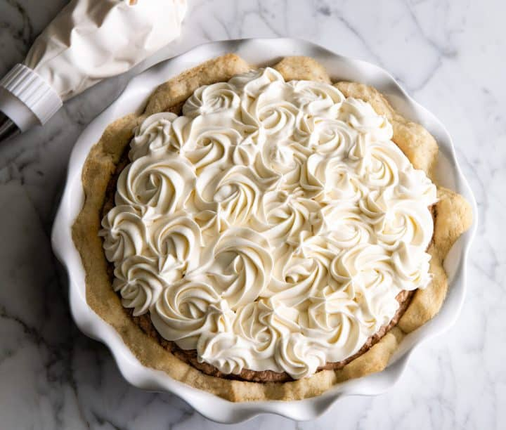 overhead view of french silk pie