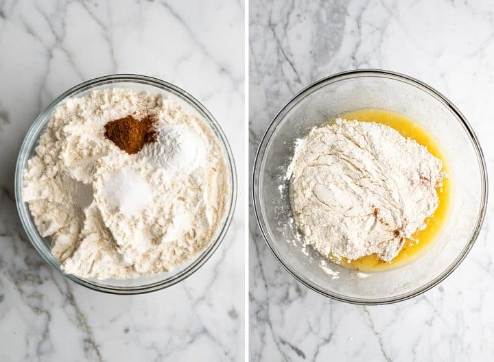 two overhead photos showing How to Make Blueberry Muffins - combining and adding the dry ingredients