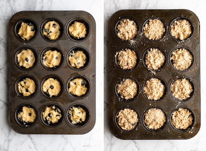 two photos showing How to Make Blueberry Muffins - putting the batter into a muffin tin and adding the crumb topping.