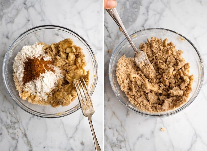 two overhead photos showing How to Make Blueberry Muffins - making the crumb topping