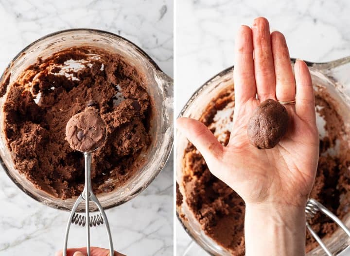 two photos showing how to make double chocolate cookies recipe