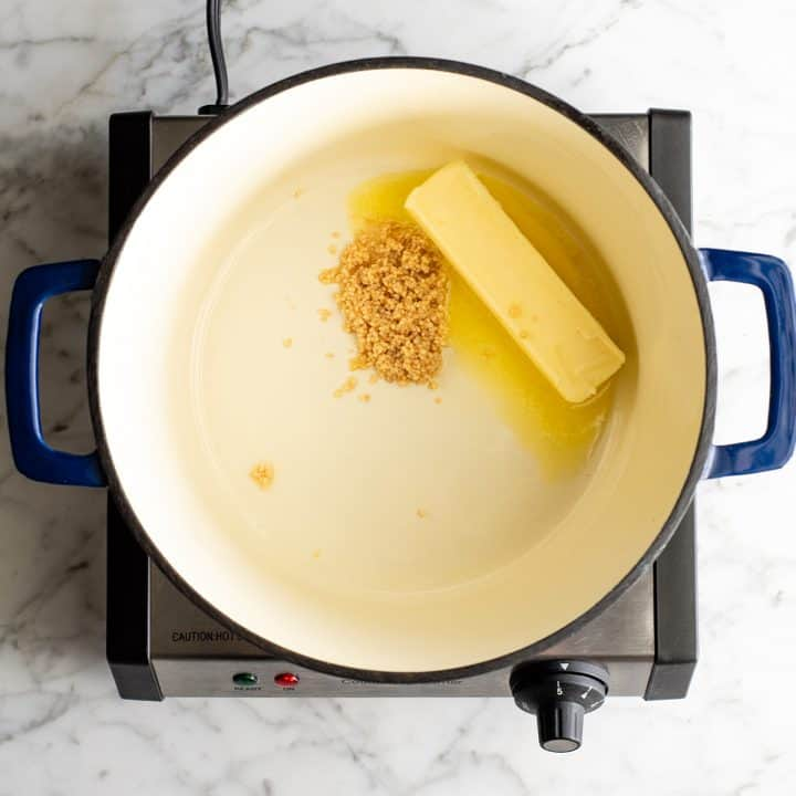photo showing how to make mashed potatoes - cooking butter and garlic