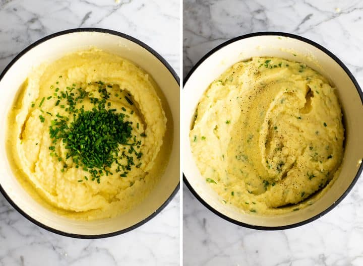 two photos showing how to make mashed potatoes - adding chives