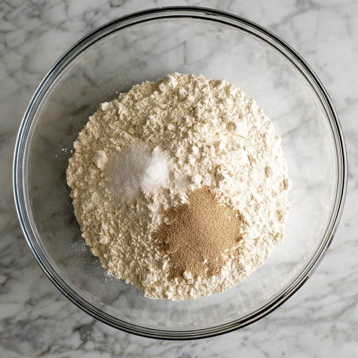 overhead view of the dry ingredients in this no knead bread recipe