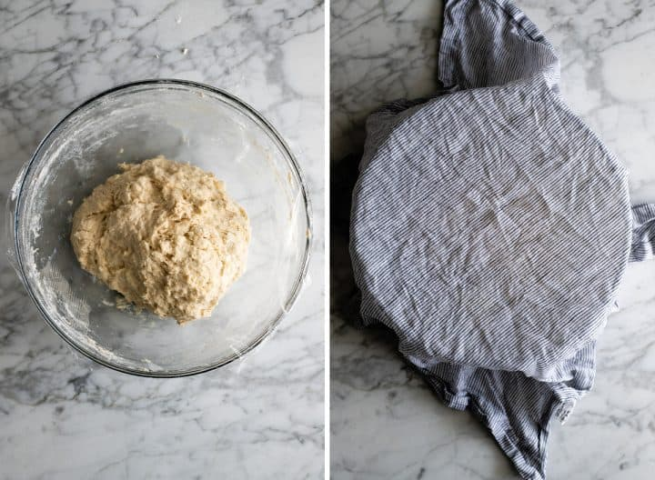 two overhead photos showing how to make no knead bread covering dough and rising