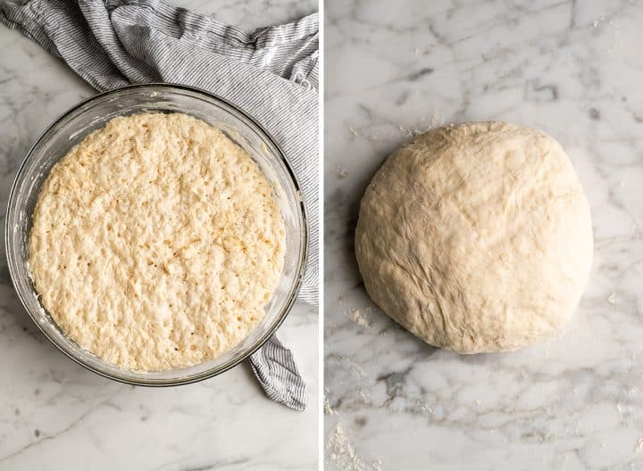 two overhead photos showing how to make no knead bread punching down dough & forming a ball