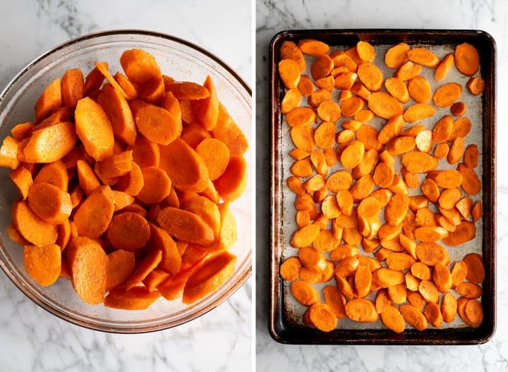 two overhead photos showing how to roast carrots - coated with spice mixture then spread out on a baking sheet before roasting