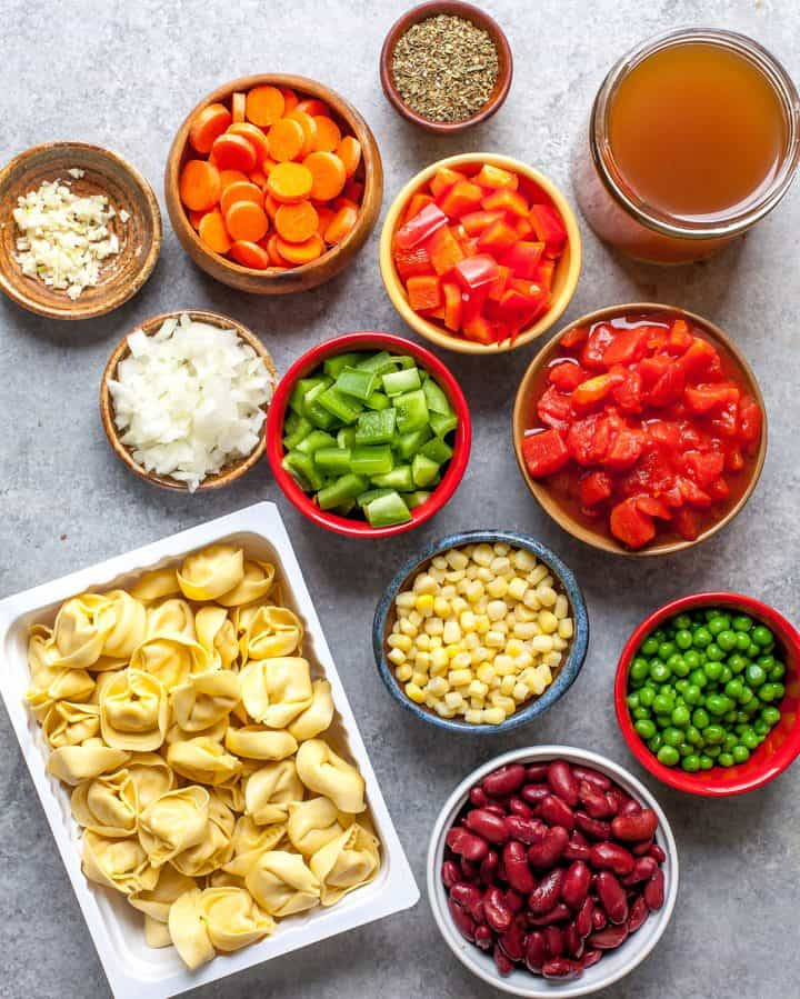 overhead view of the ingredients in this tortellini soup recipe