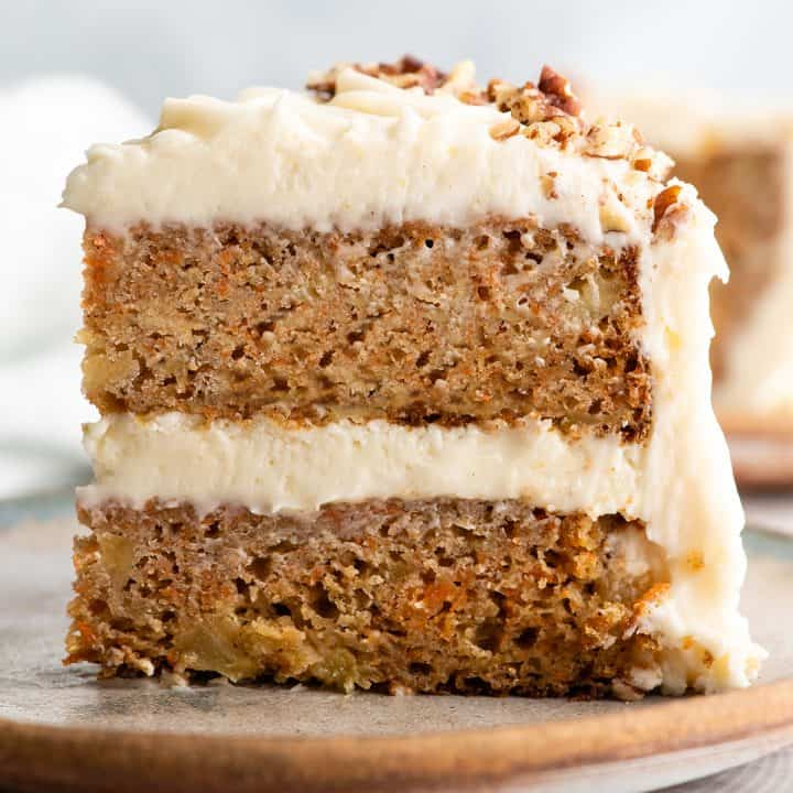 side view of a slice of healthy carrot cake with pineapple