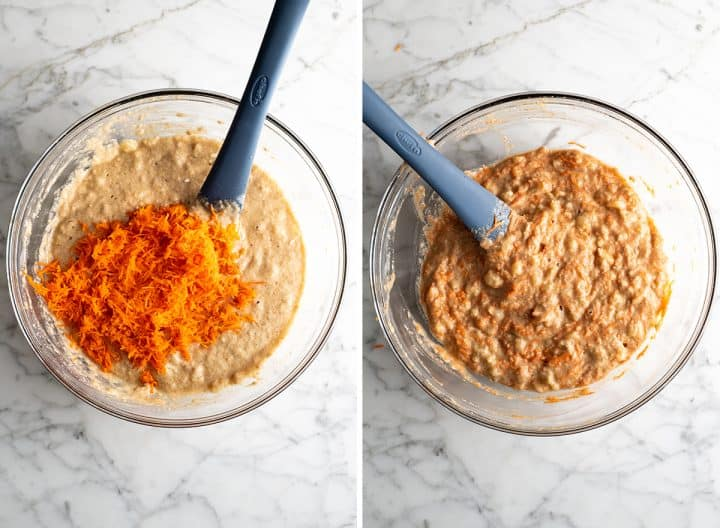 two photos showing how to make pineapple carrot cake - adding carrots to batter
