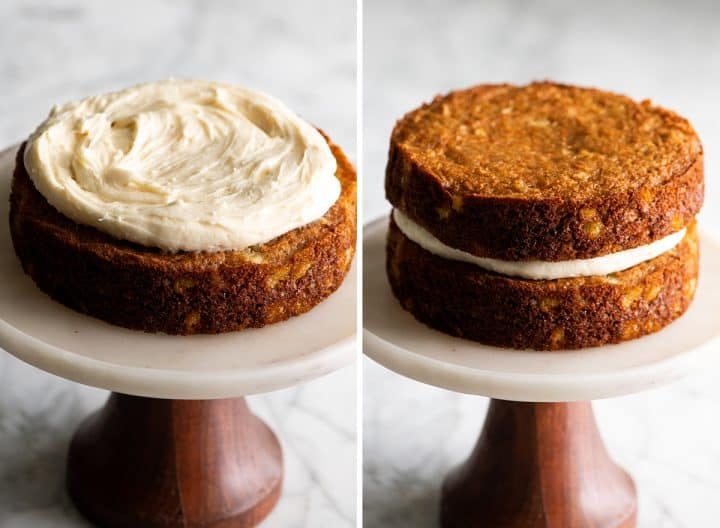 two photos showing how to make pineapple carrot cake - frosting the cake rounds