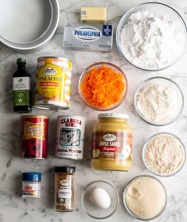 overhead photo of the ingredients in this healthy carrot cake recipe