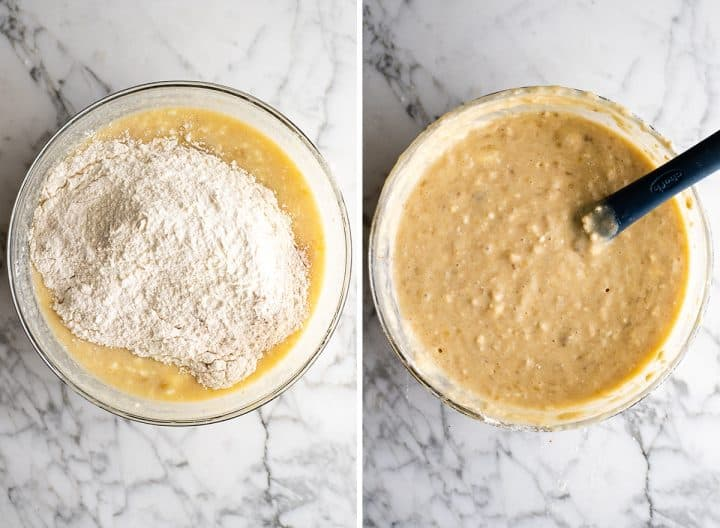 two photos showing how to make banana cake adding dry ingredients