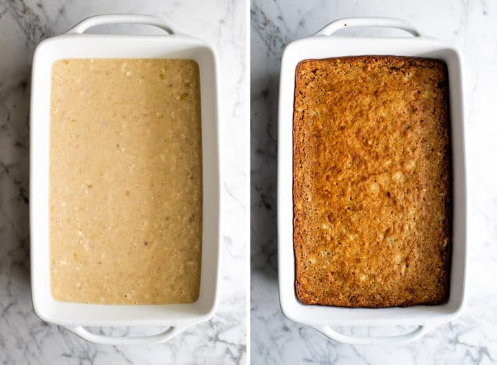 two photos showing how to make banana cake batter in the baking dish before and after baking