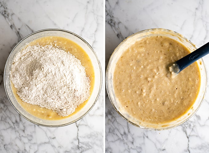 two photos showing how to make banana cake