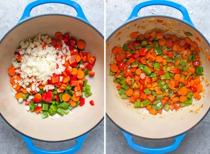 two overhead photos showing how to make tortellini soup - sautéing the vegetables