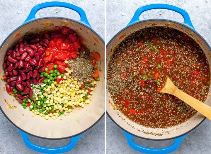 two overhead photos showing how to make tortellini soup - adding beans, tomatoes, and spices