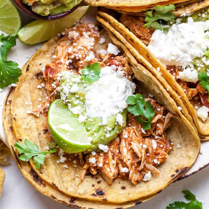 slow cooker chicken taco on a plate
