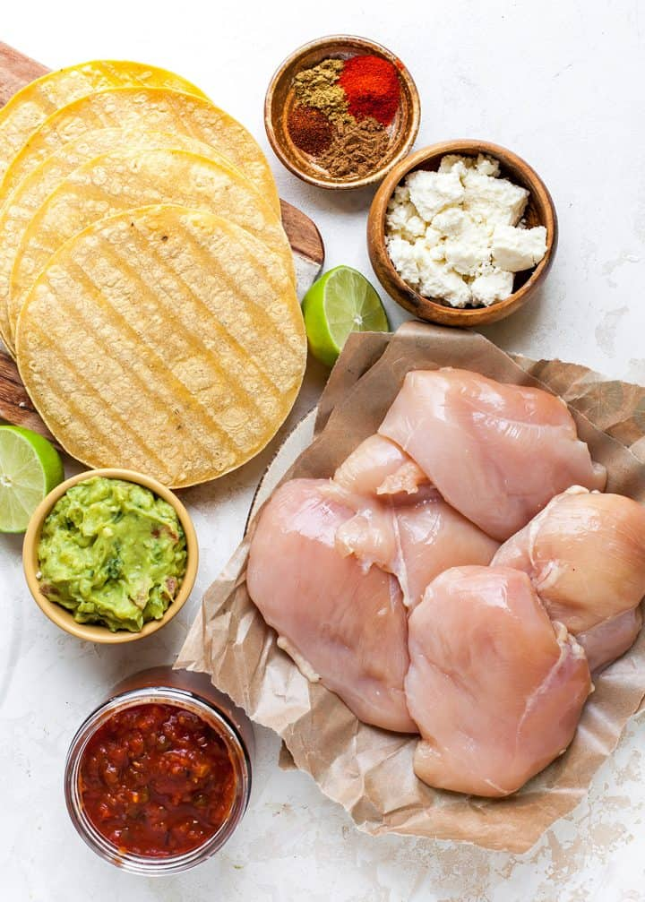 overhead view of the ingredients in this crockpot chicken tacos recipe