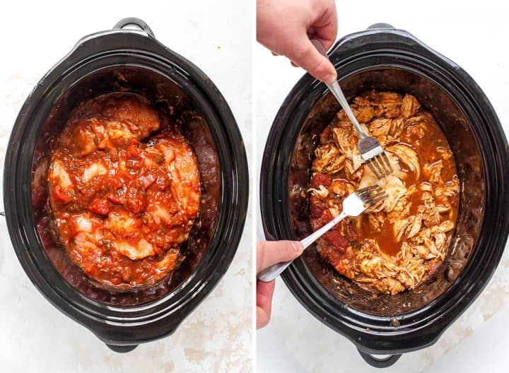 two overhead photos showing how to make crockpot chicken tacos