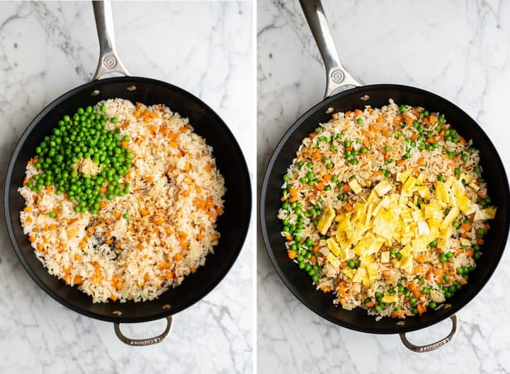 two overhead photos showing how to make fried rice