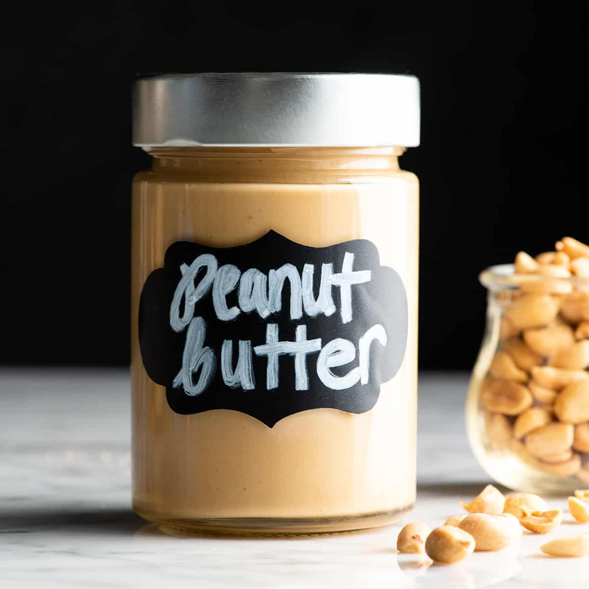 front view of a jar of homemade peanut butter
