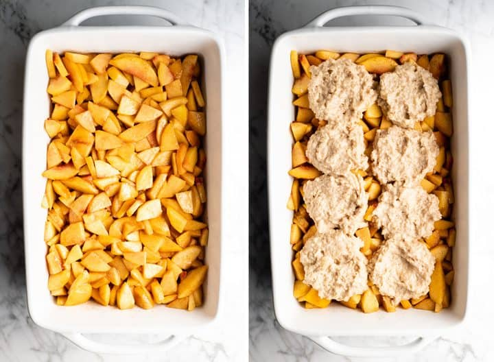 two photos showing how to make peach cobbler