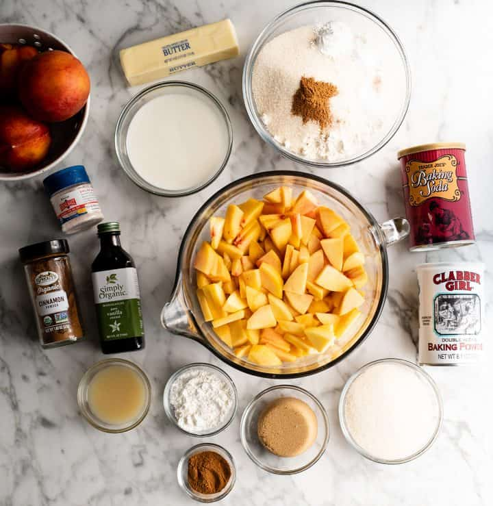 overhead photo of the ingredients in this peach cobbler recipe