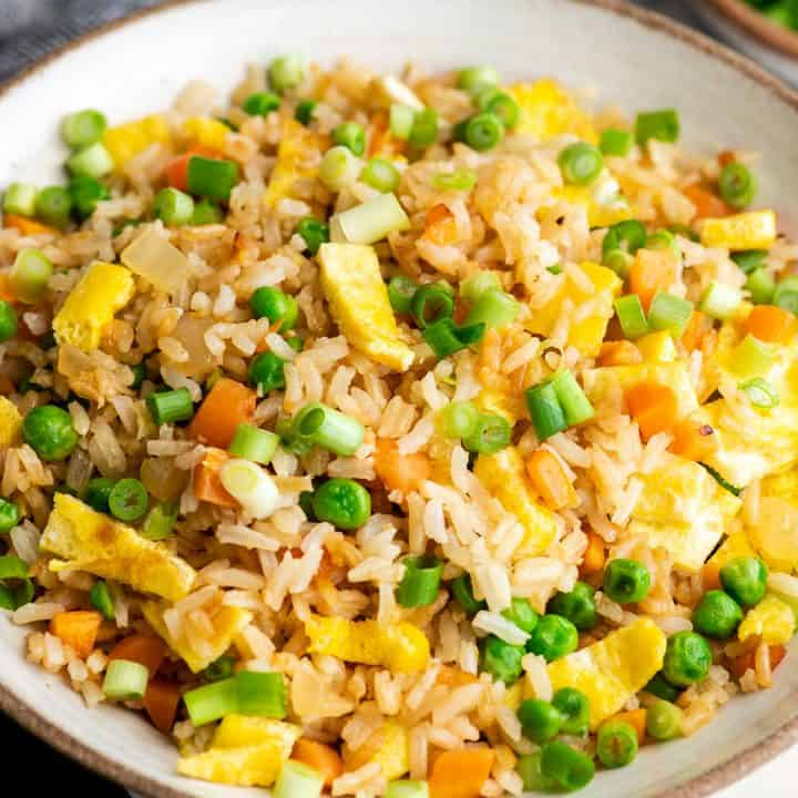 up close front view of homemade fried rice in a bowl