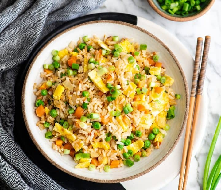 overhead photo of a bowl of homemade fried rice