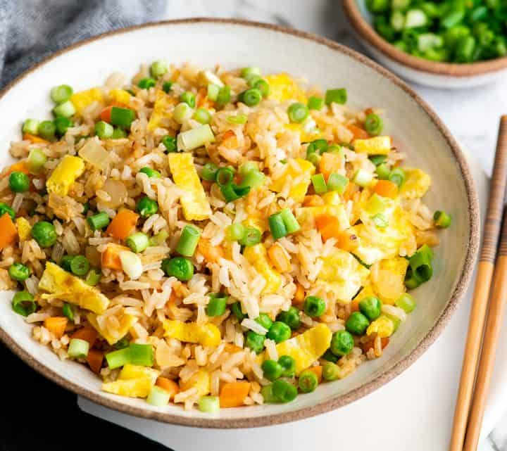 front view of a bowl of homemade fried rice