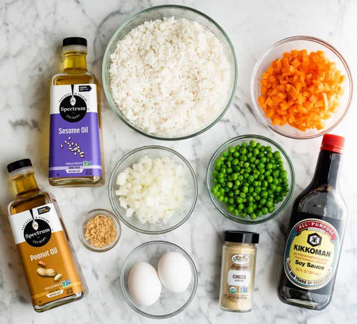 overhead view of the ingredients in this fried rice recipe