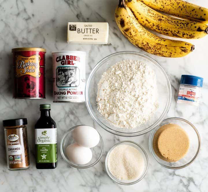 overhead view of the ingredients in this banana muffin recipe