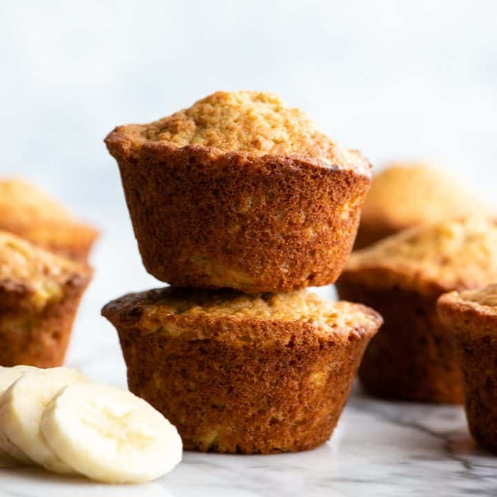 stack of 2 banana muffins