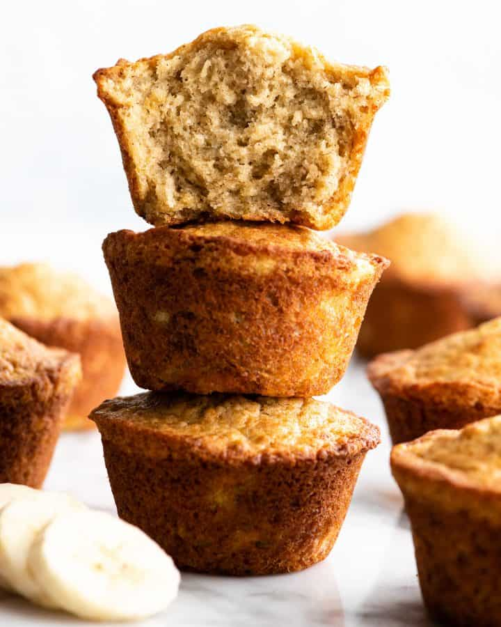 stack of 3 banana muffins