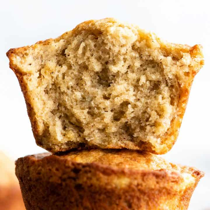 up close view of the inside of a banana muffin cut in half
