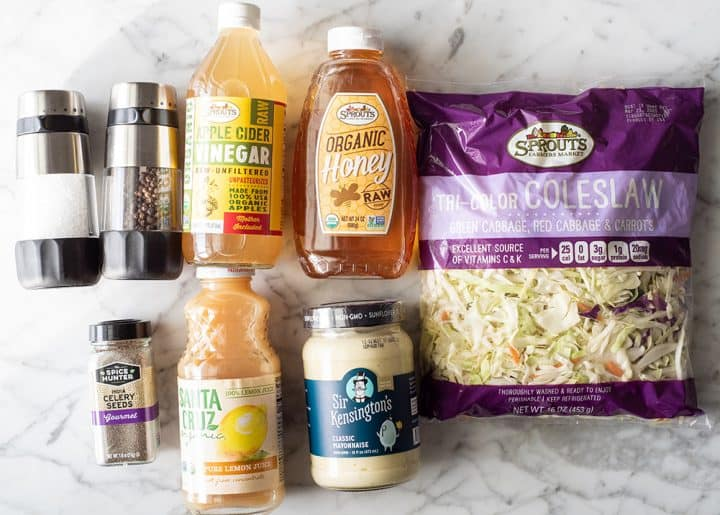 overhead photo of the ingredients in this coleslaw recipe