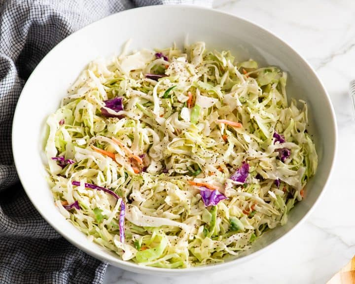 a large bowl of homemade coleslaw