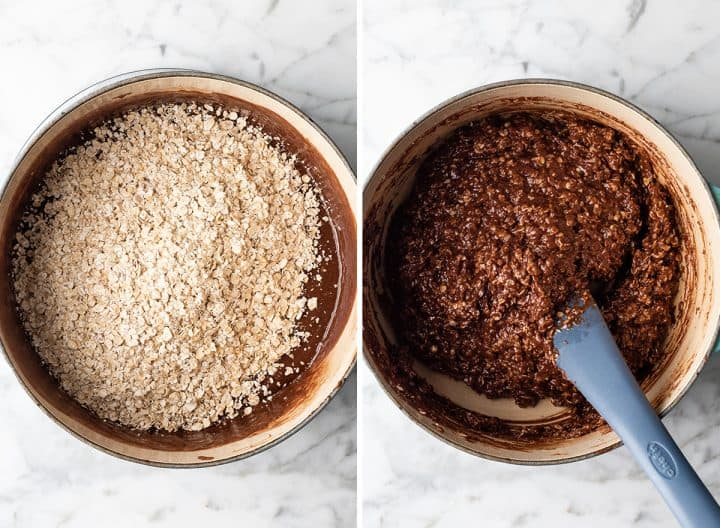 two overhead photos showing how to make no bake cookies